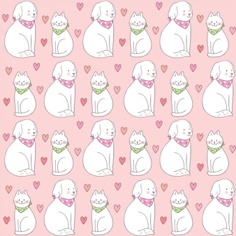 Cartoon cute valentines day cat and dog seamless pattern.