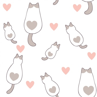 Cartoon cute valentines day cat and love seamless pattern