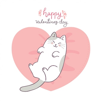 Cartoon cute valentines day cat and love vector.