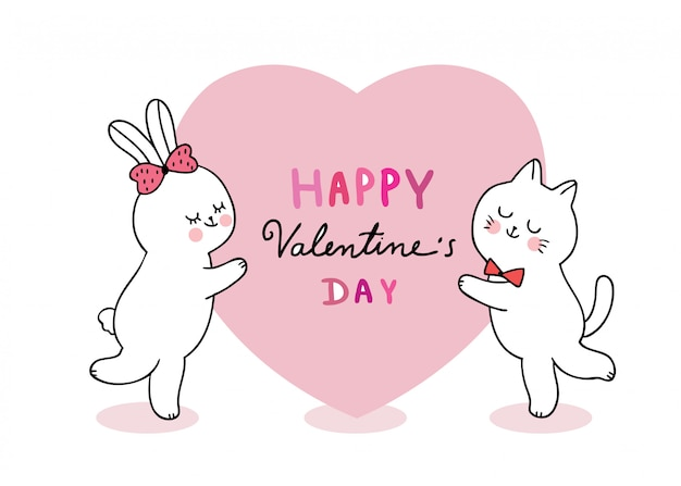 Cartoon cute valentines day cat and rabbit and big heart vector.