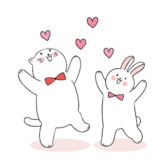 Cartoon cute valentines day  cat and rabbit and hearts vector.