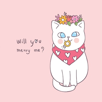 Cartoon cute valentines day cat and ring vector.