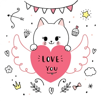Cartoon cute valentines day   cats and  heart doodle vector.