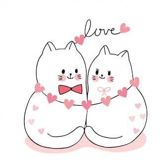 Cartoon cute valentines day couple cats and hearts vector.