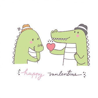 漫画かわいいバレンタインの日カップルワニベクトル。