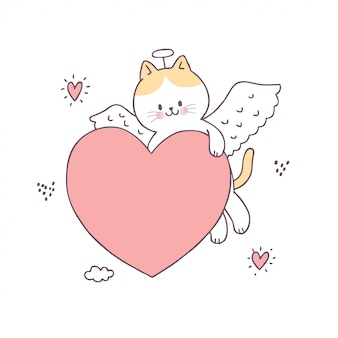 Cartoon cute valentines day cupid cat and love vector.