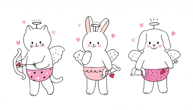 Cartoon cute valentines day  cupids cat and rabbit and dog .