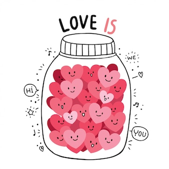 Cartoon cute valentines day doodle many hearts vector.