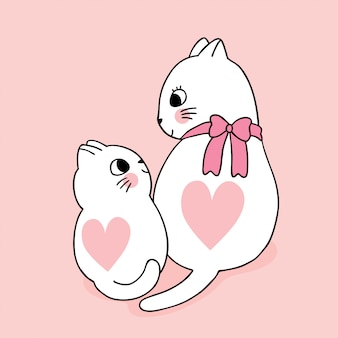 Cartoon cute valentines day  mother and baby cats  hearts  vector.