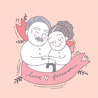 Cartoon cute valentines day older couple and love vector.