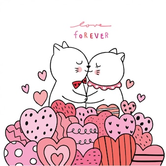 Cartoon cute valentines day white cats lover kissing .