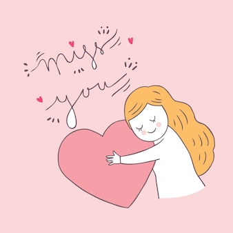 Cartoon cute valentines day woman and love vector.