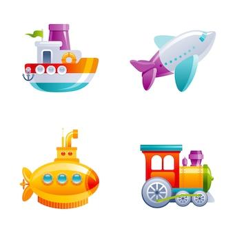 男の子のための漫画かわいいベクトルおもちゃ輸送セット。赤ちゃんのおもちゃセット。漫画のボート、飛行機、黄色のサブマリン、電車。