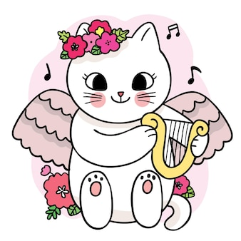 Cartoon cute white cat and flower and butterfly and bee vector