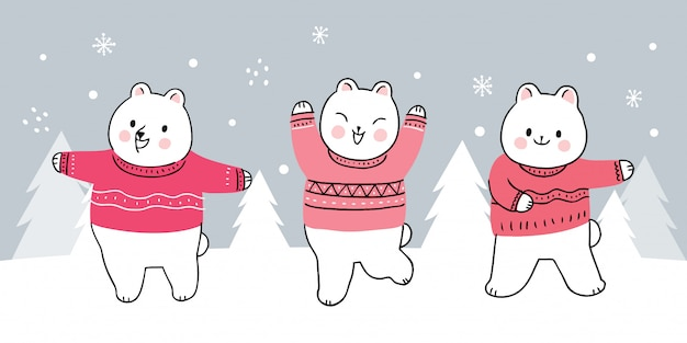 Cartoon cute winter bears