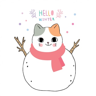 Cartoon cute winter, cat is snowman.