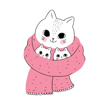 Cartoon cute winter cat and kitten