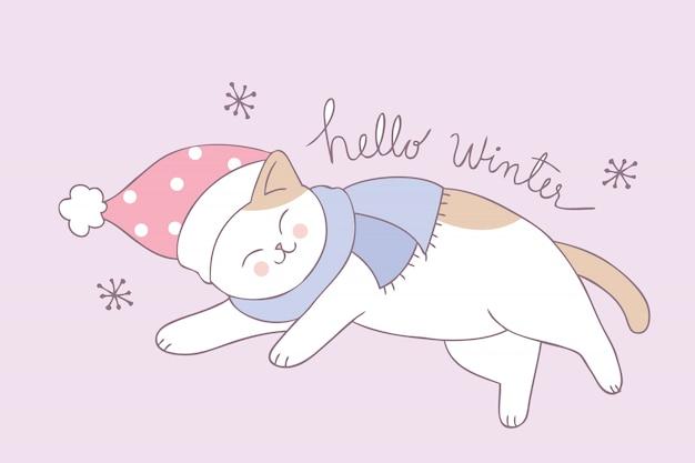 Cartoon cute winter cat sleeping vector.