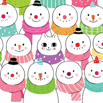 Cartoon cute winter cat and snowman