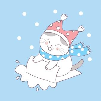 Cartoon cute winter cat vector.