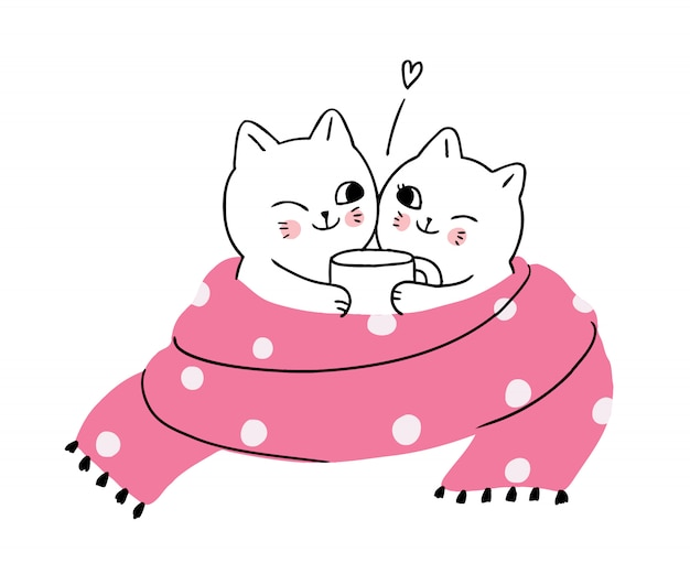 Cartoon cute winter, cats drinking coffee