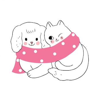 Cartoon cute winter, dog and cat