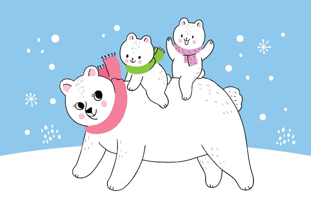 Cartoon cute winter mother and baby polar bear