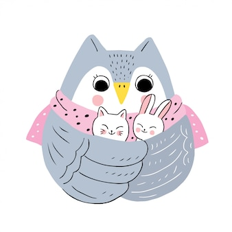 Cartoon cute winter owl and cats and rabbit