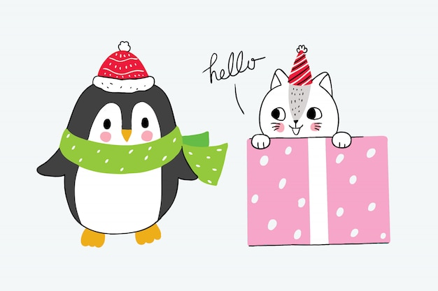 Cartoon cute winter penguin and cat in girl box