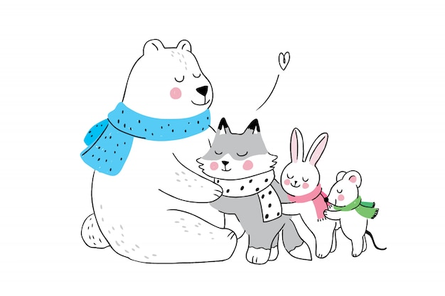 Cartoon cute winter polar bear hugging little animals