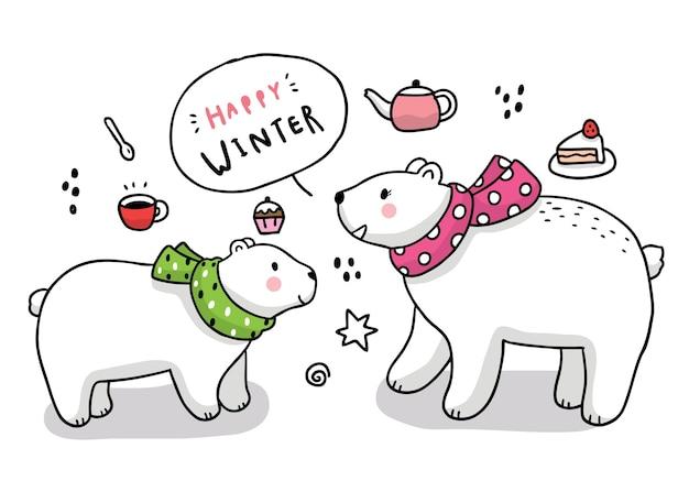 Мультяшный милый зимний полярный медведь приветствует.