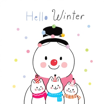 Cartoon cute winter snowman and cats