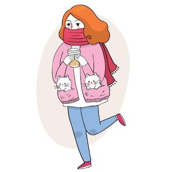 Мультфильм милая женщина и чашка кофе и маленький вектор кошки