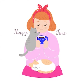 Cartoon cute woman and cat sleeping vector.