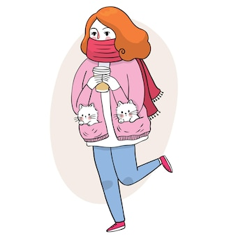 Cartoon cute woman and coffee cup and little cat vector