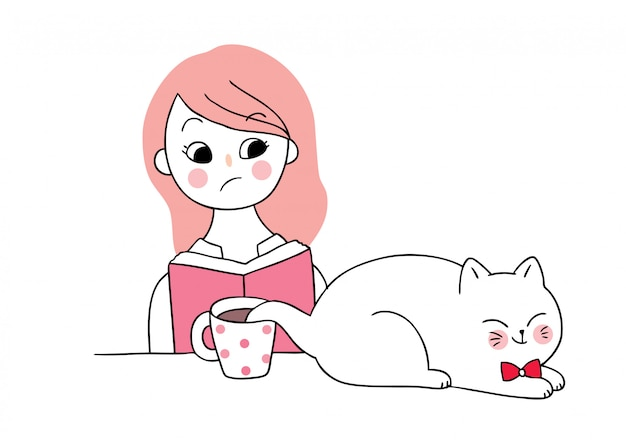 Cartoon cute woman reading book and funny cat vector.