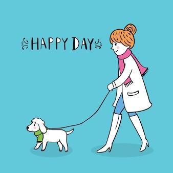 漫画かわいい女の子が犬を歩く