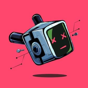 Мультяшный киберпанк-робот с мертвыми глазами в научно-фантастическом стиле