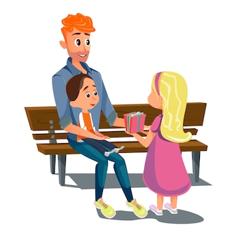 Cartoon dad son daughter ob bench father day card