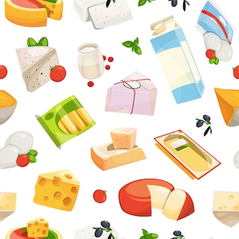 Cartoon dairy and cheese products pattern or  illustration