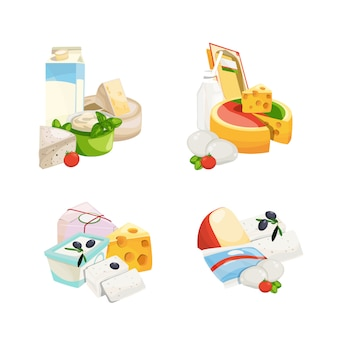 Cartoon dairy and cheese products piles set isolated