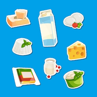 Cartoon dairy and cheese products stickers set illustration