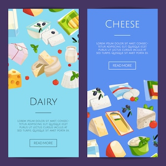 Cartoon dairy and cheese products web banner templates illustration