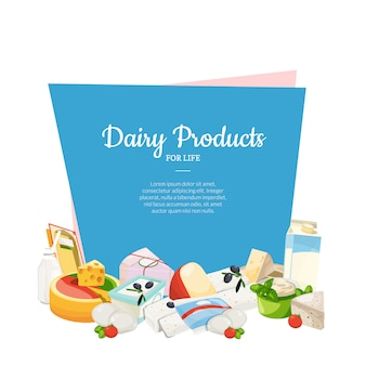 Cartoon dairy and cheese products with copyspace