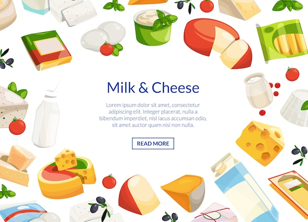 Cartoon dairy and cheese products