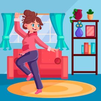 집에서 만화 댄스 피트니스