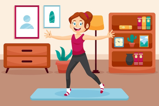 Cartoon dance fitness at home illustration with people