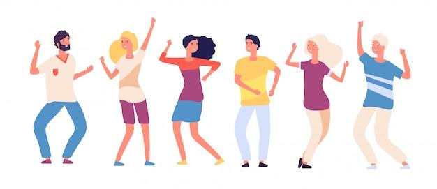 漫画の踊る人々。幸せな若者のダンス、楽しい大人の女性と男性のダンサー。クラブ分離ベクトル文字で党群集