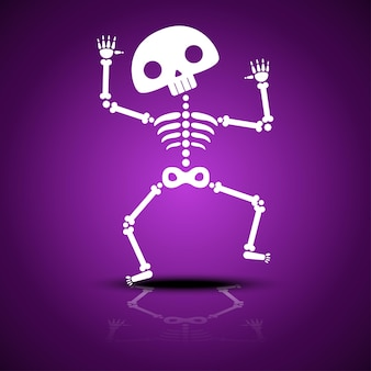 Мультфильм танцы скелет с отражением на фиолетовом фоне для вечеринки в честь хэллоуина. векторный шаблон.