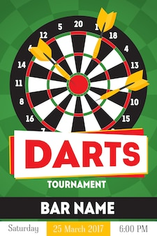 Cartoon darts tournament poster, card for bar with date flat design style